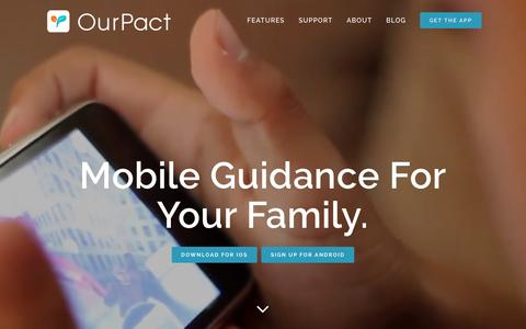 Screenshot of Home Page ourpact.com - Parental Control for iOS and Screen Time | OurPact - captured Dec. 7, 2015