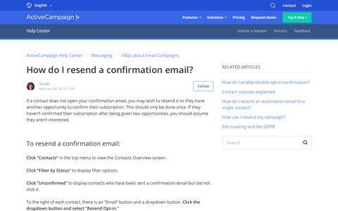 Screenshot of Support Page activecampaign.com - How do I resend a confirmation email? – ActiveCampaign Help Center - captured June 18, 2019