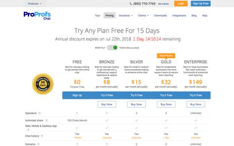 Screenshot of Pricing Page proprofs.com - Live Chat Software Cost and Pricing Plans - captured July 21, 2018