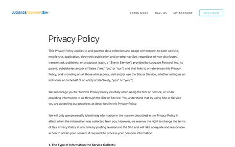 Privacy Policy - Luggage Forward
