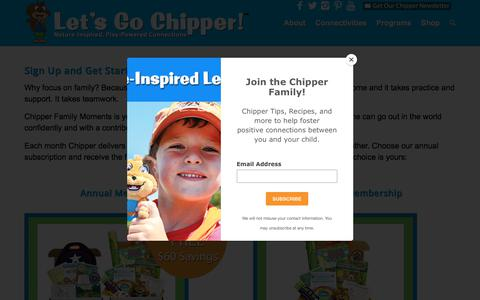 Screenshot of Signup Page letsgochipper.com - Sign up for Chipper Family Moments Delivered Every Month - captured July 18, 2018