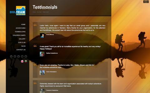 Screenshot of Testimonials Page outdoor-bulgaria.com - Testimonials - captured Oct. 5, 2014