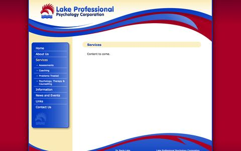 Screenshot of Services Page drlake.ca - Services | Lake Professional Psychology Corporation - captured Oct. 1, 2014