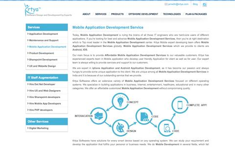 Screenshot of Services Page krtya.com - IOS|Android|Mobile Application Development Company|Services Provider - captured Sept. 19, 2014