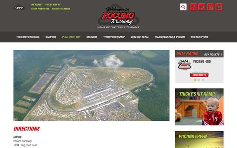 Screenshot of Maps & Directions Page poconoraceway.com - Directions to Pocono Raceway, Long Pond, Pennsylvania - captured Sept. 25, 2014