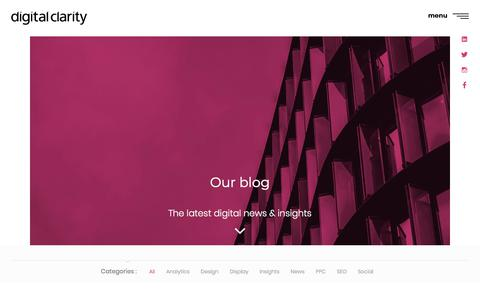 Screenshot of Blog digital-clarity.com - Our Thoughts, Views & Insight | Digital Clarity - captured Sept. 23, 2018