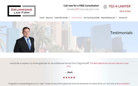 Screenshot of Testimonials Page drummondfirm.com - Testimonials | Drummond Law Firm - captured Oct. 13, 2017