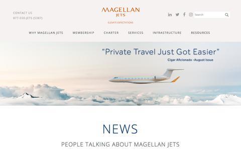 Screenshot of Press Page magellanjets.com - News | Magellan Jets - captured Sept. 8, 2017