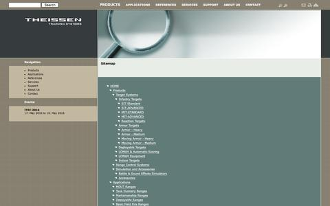 Screenshot of Site Map Page theissentraining.com - Theissen Training Systems GmbH ::Target Systems, Range Control Systems, Accessories, MOUT Ranges, Tank Gunnery Ranges, Marksmanship Ranges, Deployable Ranges, Basic Field Fire Ranges - captured Feb. 28, 2016