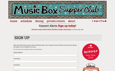 Screenshot of Signup Page musicboxcle.com - Sign Up Music Box Supper Club - captured Nov. 30, 2016