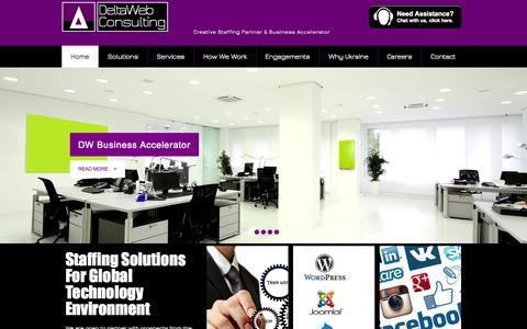Screenshot of Home Page deltawebconsulting.com - DeltaWeb Consulting | Business & Technology Consultancy - captured Oct. 5, 2014