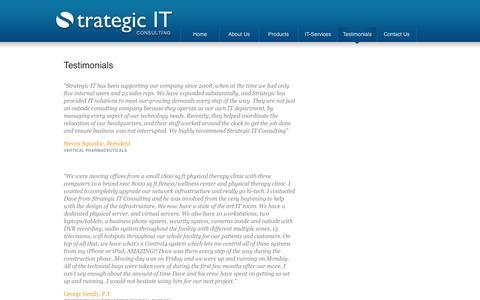 Screenshot of Testimonials Page it-strategic.com - Testimonials  - Strategic IT Consulting - captured Oct. 7, 2014