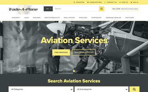 Screenshot of Services Page trade-a-plane.com - Search For Aircraft & Aircraft Parts - Airplane Sale, Jets, Helicopters, UAVs, Drones, & Aviation Real Estate   Trade-A-Plane - captured Sept. 6, 2018
