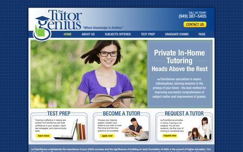 Screenshot of Home Page thetutorgenius.com - Tutor Genius : Tutor : Tutoring : Find a Tutor - captured Oct. 9, 2014