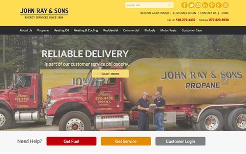 Screenshot of Home Page johnray.com - Welcome to John Ray & Sons - Energy Services Since 1904 - captured Feb. 11, 2016