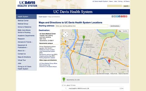 Screenshot of Maps & Directions Page ucdavis.edu - Maps and Directions to UC Davis Health System Locations - captured Sept. 18, 2014