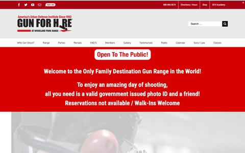 Screenshot of Home Page gunforhire.com - 6 Star Shooting Range in NJ | Gun For Hire - captured Sept. 30, 2018
