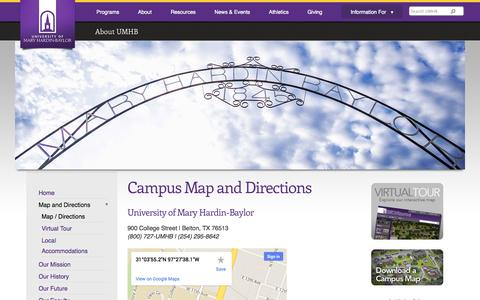 Screenshot of Maps & Directions Page umhb.edu - Campus Map and Directions | University of Mary Hardin-Baylor - Belton, TX - captured Sept. 19, 2014