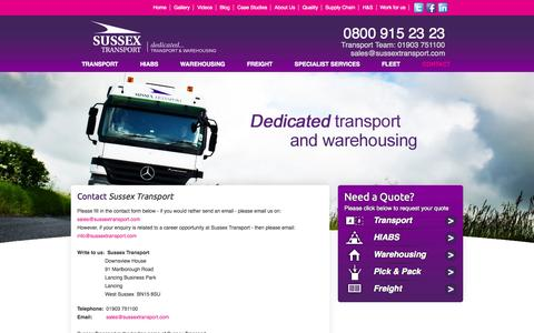 Screenshot of Contact Page sussextransport.com - Contact - captured Sept. 30, 2014
