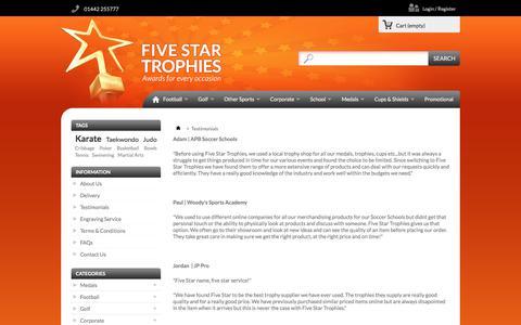 Screenshot of Testimonials Page fivestartrophies.co.uk - Testimonials - Five Star Trophies - captured June 6, 2017