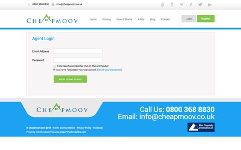 Screenshot of Login Page cheapmoov.co.uk - Agent Login - captured Sept. 22, 2014