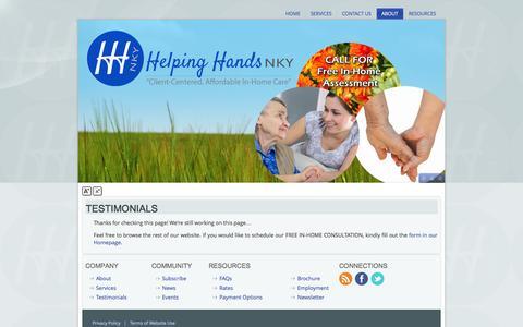 Screenshot of Testimonials Page helpinghandsnky.com - Testimonials - Helping Hands NKY - Northern Kentucky Region - captured Sept. 29, 2014