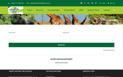 Screenshot of Login Page naturelinksafaris.co.ug - Login - Nature Link Safaris - captured Dec. 20, 2018