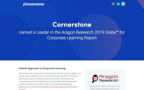 Screenshot of Landing Page cornerstoneondemand.com - Cornerstone Named Leader in Aragon Research 2019 | Cornerstone - captured Oct. 22, 2019