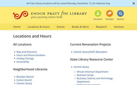 Screenshot of Locations Page prattlibrary.org - Pratt Library Locations - Enoch Pratt Free Library - captured Nov. 8, 2018