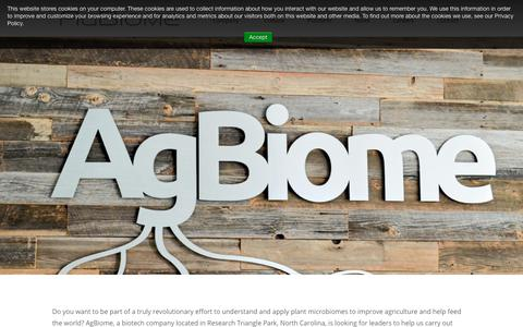 Screenshot of Jobs Page agbiome.com - Careers - AgBiome - captured April 11, 2019