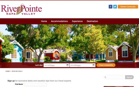 Screenshot of Signup Page riverpointeresort.com - Send Me Deals - RiverPointe Napa Valley - captured Oct. 18, 2016