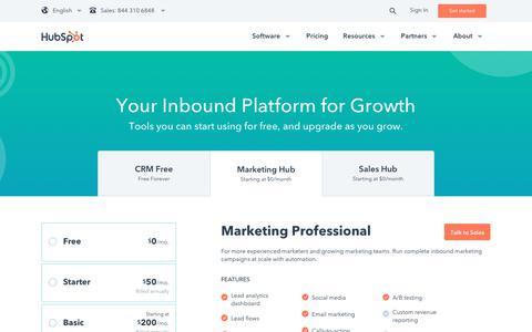 Screenshot of Pricing Page hubspot.com - Marketing Pricing - captured Sept. 27, 2017