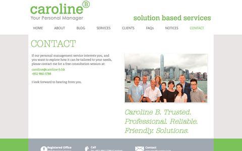 Screenshot of Contact Page caroline-b.hk - Contact - captured Sept. 27, 2018