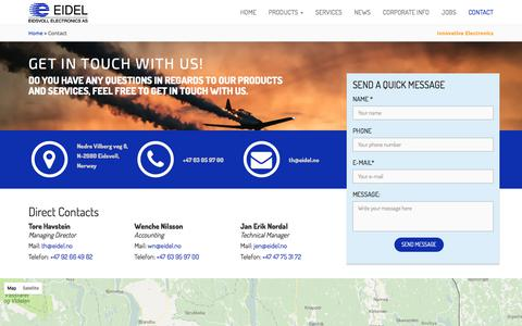 Screenshot of Contact Page eidel.no - Contact - Eidsvoll Electronics - captured July 6, 2017