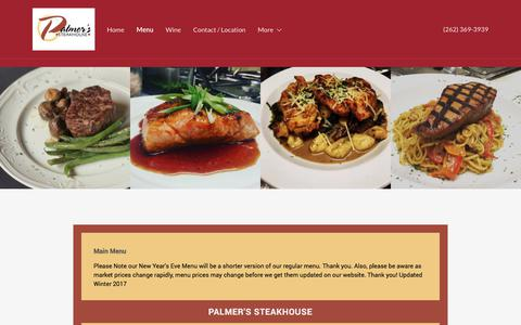 Screenshot of Menu Page palmerssteakhouse.com - Menu | Palmer's Steakhouse - captured Feb. 4, 2018