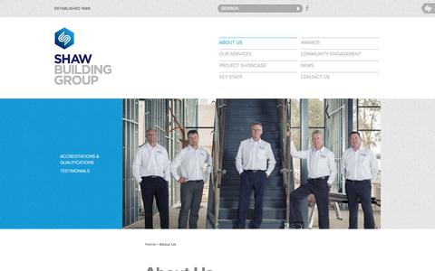 Screenshot of About Page shawbg.com.au - About Us | Shaw Building Group - captured Oct. 27, 2014