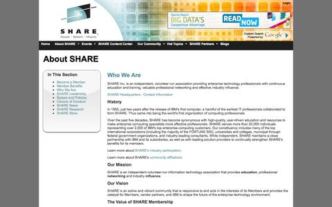 Screenshot of About Page share.org - SHARE : SHARE - Enterprise Technology IT Professionals Association - Who We Are - captured Nov. 2, 2014