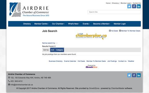 Screenshot of Jobs Page airdriechamber.ab.ca - Job Search - Airdrie Chamber of Commerce, AB - captured Oct. 7, 2017