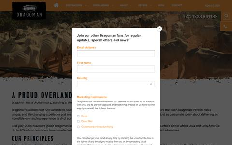 Screenshot of About Page dragoman.com - About Dragoman Overland Travel - Dragoman Overland - captured Aug. 8, 2018
