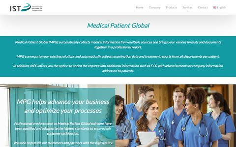 Screenshot of Products Page istmedical.com - Patient Global-EN – IST Medical – Empowering Doctors to their Best - captured Oct. 2, 2018