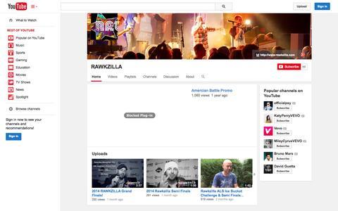 Screenshot of YouTube Page youtube.com - RAWKZILLA  - YouTube - captured Oct. 26, 2014