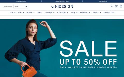 Screenshot of Home Page hidesign.com - Hidesign - Online Shopping for Elegantly Handcrafted Leather Accessories - captured July 18, 2018