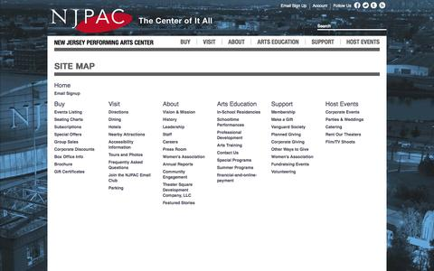 Screenshot of Site Map Page njpac.org - Sitemap - captured Sept. 18, 2014