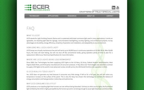 Screenshot of FAQ Page ecertechnologies.com - Ecer Technologies - Faq - captured July 11, 2016