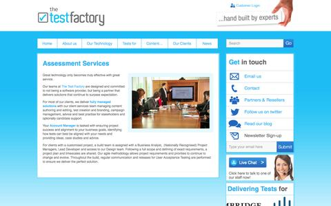 Screenshot of Services Page thetestfactory.com - Candidate Assessment Services | Create Staff Test Solutions | Test Factory - captured Oct. 9, 2014