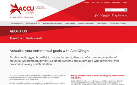 Screenshot of About Page accuweigh.com.au - About Us - AccuWeigh - captured Dec. 9, 2018