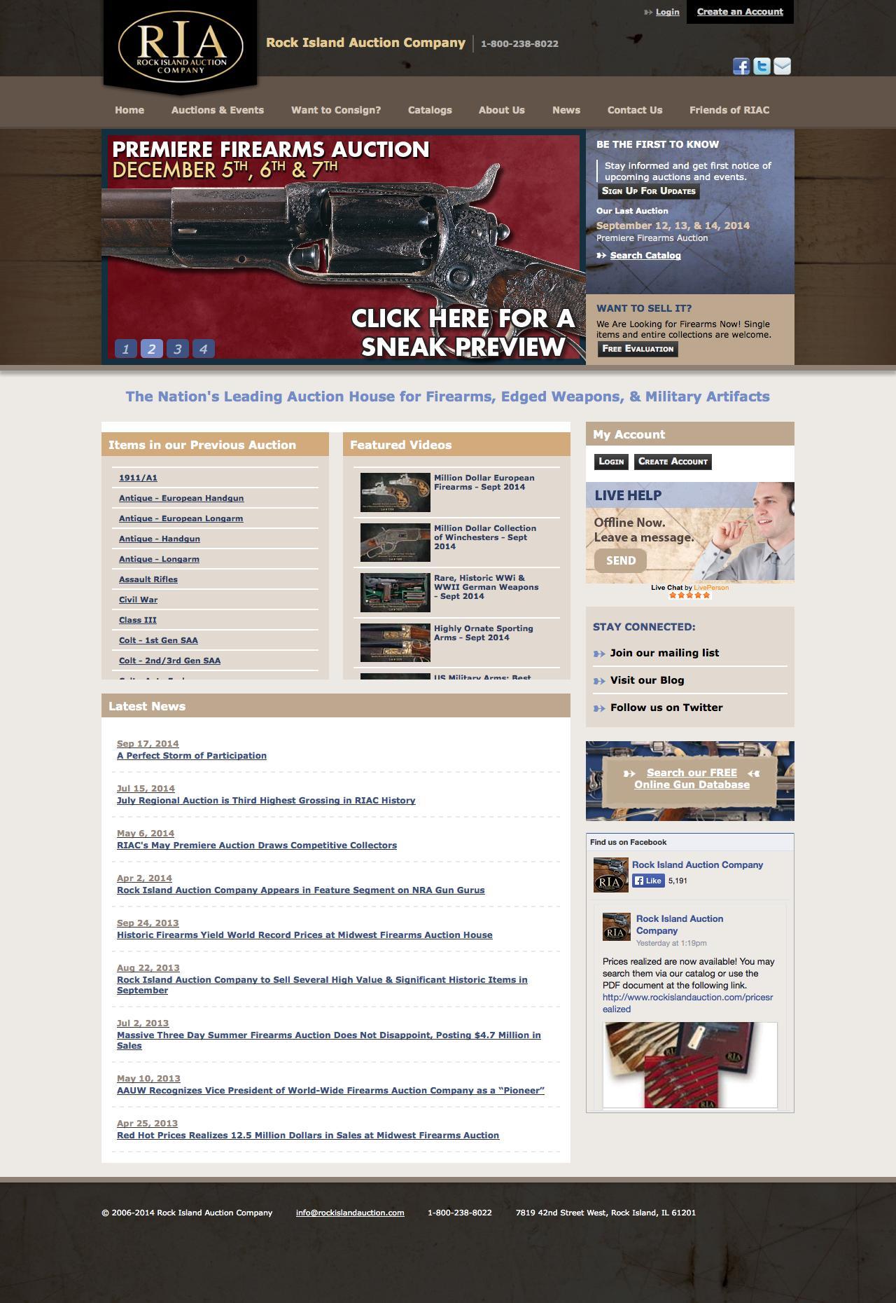 Screenshot of rockislandauction.com - Antique & Collectors Firearms Auction - Sell Your Guns - captured Sept. 18, 2014