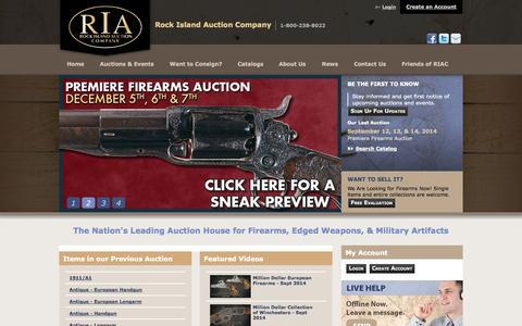 Screenshot of Home Page rockislandauction.com - Antique & Collectors Firearms Auction - Sell Your Guns - captured Sept. 18, 2014