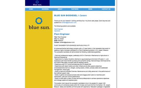Screenshot of Jobs Page gobluesun.com - Blue Sun - Careers - captured Oct. 26, 2014