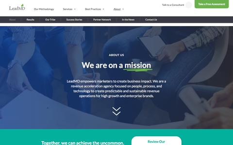 Screenshot of About Page leadmd.com - LeadMD | We are a Revenue Acceleration Agency - captured July 4, 2018